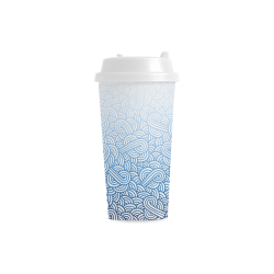 Gradient blue and white swirls doodles Double Wall Plastic Mug