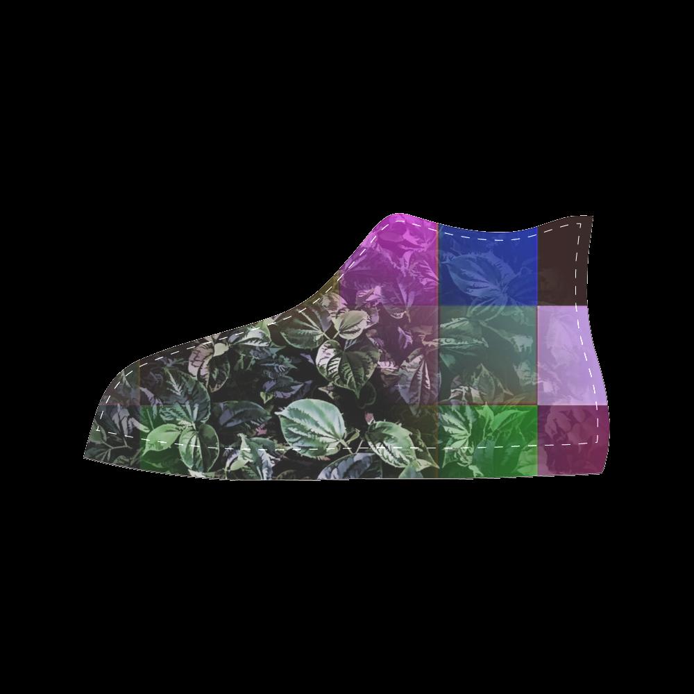 Foliage Patchwork #13 - Jera Nour Women's Classic High Top Canvas Shoes (Model 017)