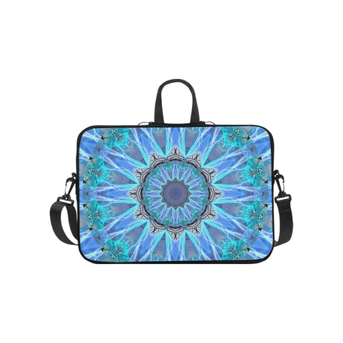 Sapphire Ice Flame, Cyan Blue Crystal Wheel Laptop Handbags 10""