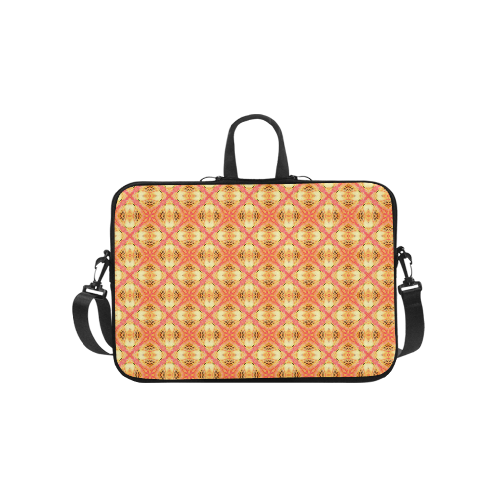 Peach Pineapple Abstract Circles Arches Laptop Handbags 10""