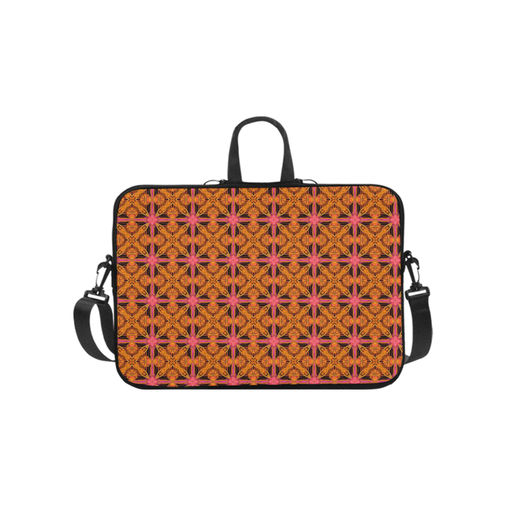 Peach Lattice Abstract Pink Snowflake Star Laptop Handbags 10""