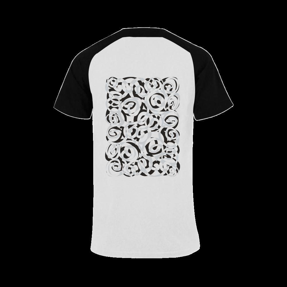 Black White Grey SPIRALS pattern ART Men's Raglan T-shirt (USA Size) (Model T11)
