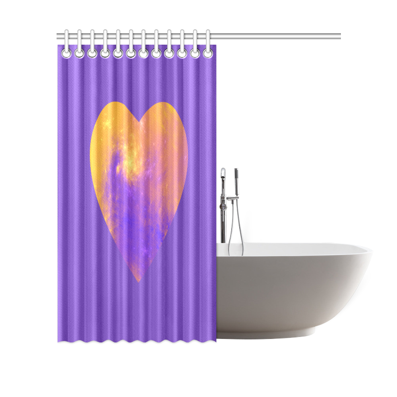 "Colorful Universe Heart Purple Lilac Shower Curtain 69""x70"""