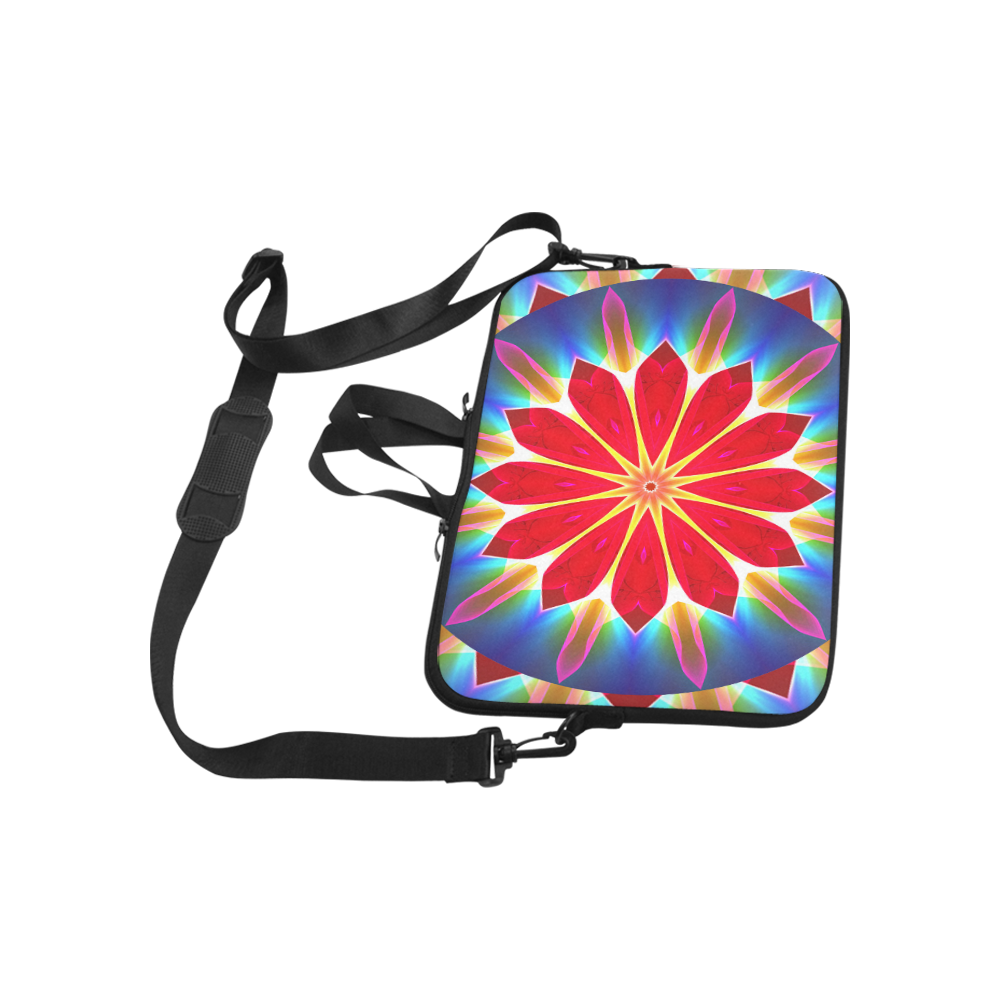 """Blue Ice Flowers Red Abstract Modern Petals Zen Laptop Handbags 14"""""""