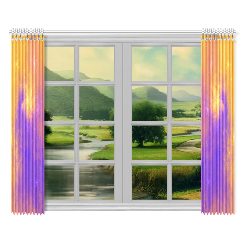 """Colorful Universe Window Curtain 52""""x84""""(Two Pieces)"""