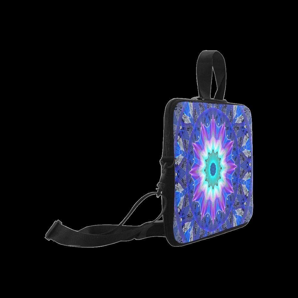 "Blue Ice Merry Aqua Violet Foliage Flowers Zen Laptop Handbags 17"""