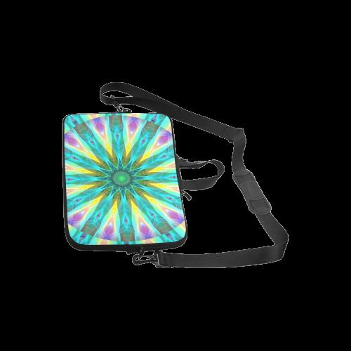 "Golden Violet Peacock Sunrise Abstract Wind Flower Laptop Handbags 10"""