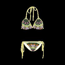 Tulips Nature Mandala, green 001 01 Custom Bikini Swimsuit
