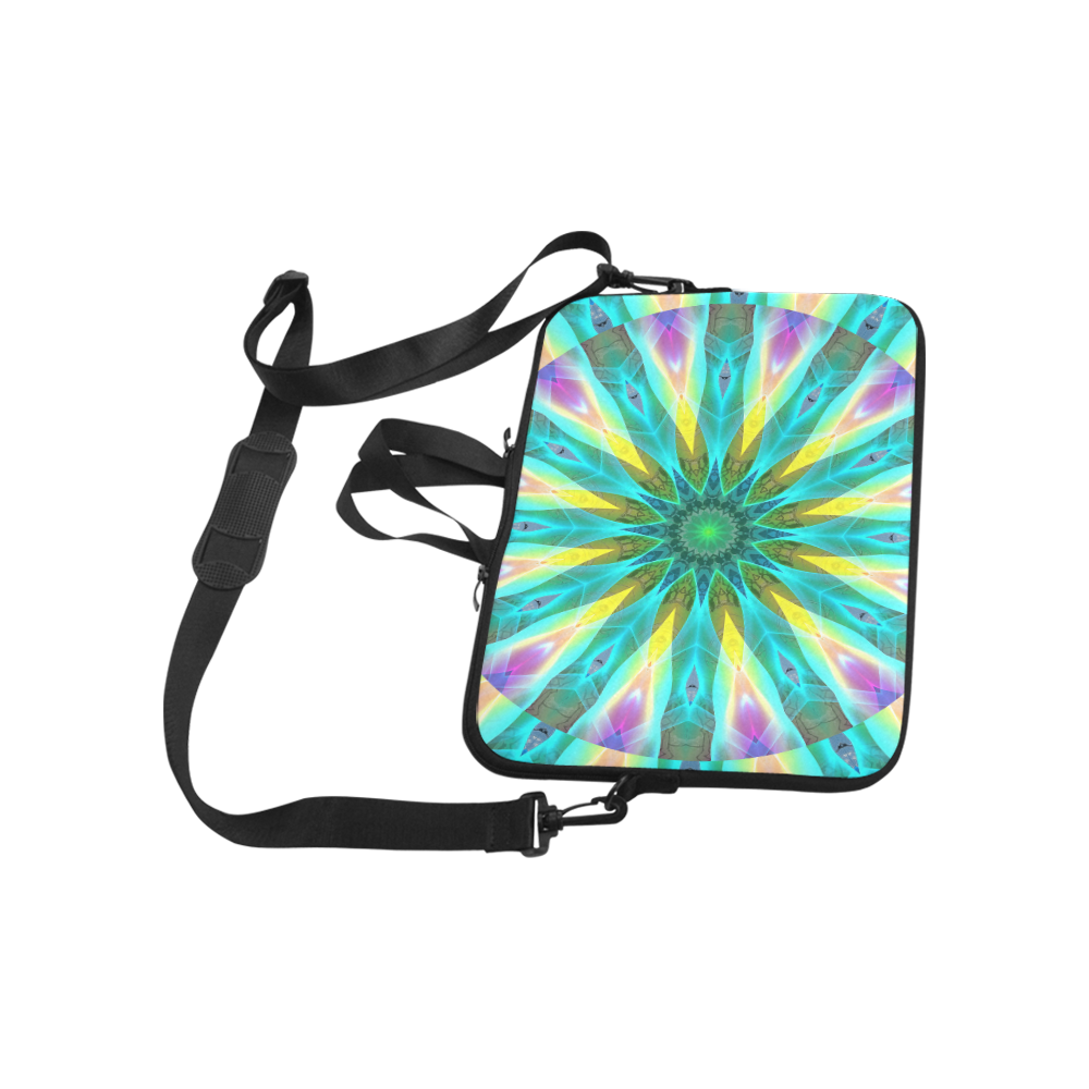 "Golden Violet Peacock Sunrise Abstract Wind Flower Laptop Handbags 13"""