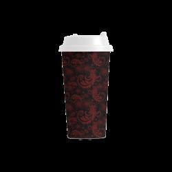 Elegant vintage flourish damasks in  black and red Double Wall Plastic Mug