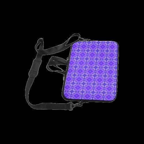 "Purple Abstract Flowers, Lattice, Circle Quilt Laptop Handbags 10"""