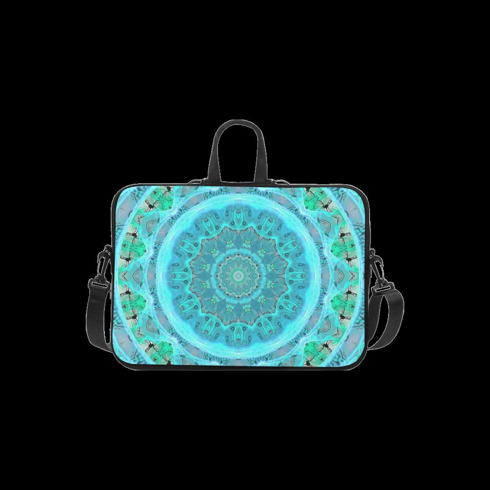 "Teal Cyan Ocean Abstract Modern Lace Lattice Laptop Handbags 13"""
