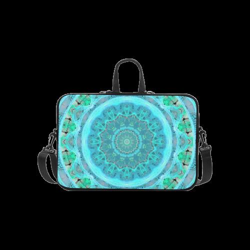 "Teal Cyan Ocean Abstract Modern Lace Lattice Laptop Handbags 14"""