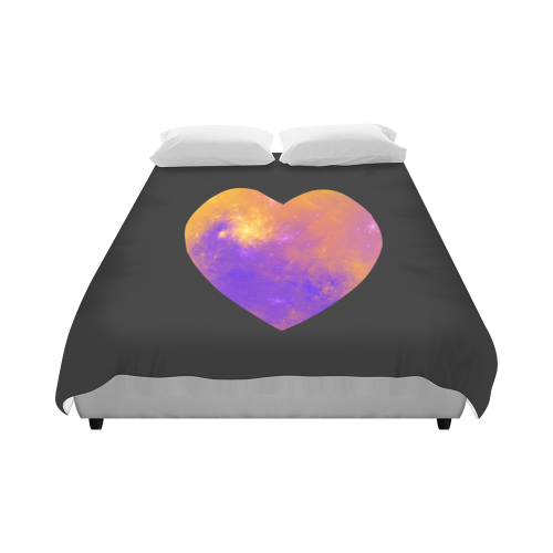 """Colorful Universe Heart Duvet Cover 86""""x70"""" ( All-over-print)"""