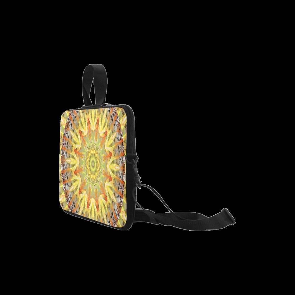 "Golden Feathers Orange Flames Abstract Lattice Laptop Handbags 14"""