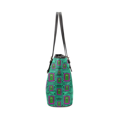 Peace Mermaid In The Green Sea Leather Tote Bag/Small (Model 1640)