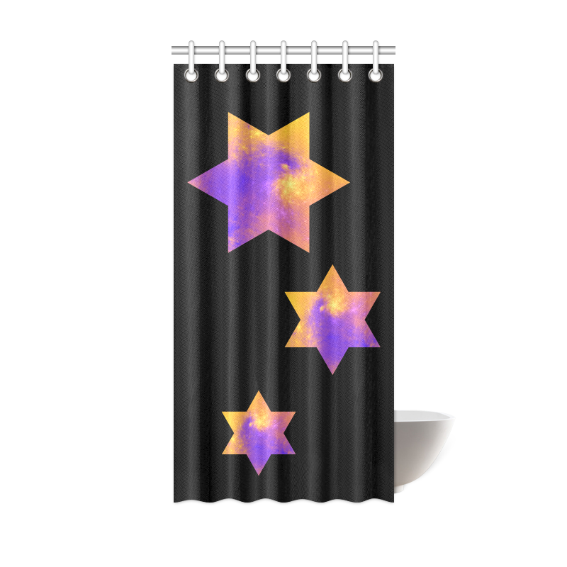"Colorful Universe Stars Black Shower Curtain 36""x72"""