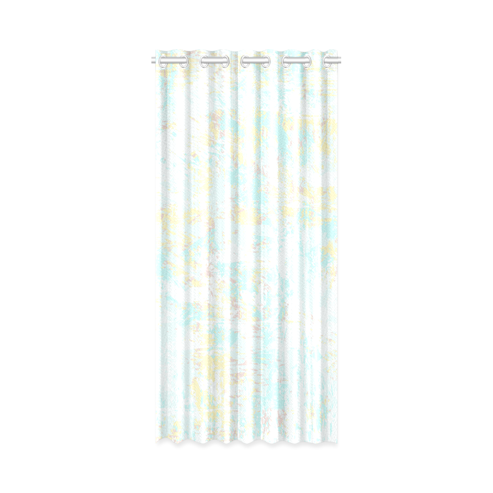 "Bright Blue Yellow Grunge Design New Window Curtain 50"" x 108""(One Piece)"