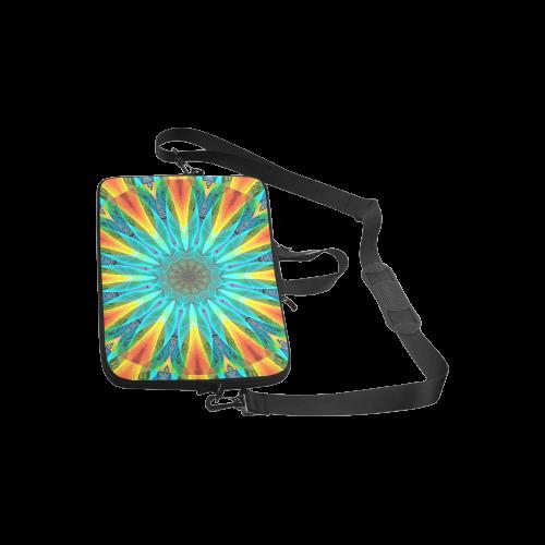 "Aqua Gold Joy to the World Flowers, Zen Rainbow Laptop Handbags 10"""