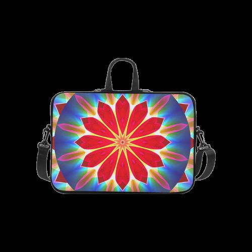 """Blue Ice Flowers Red Abstract Modern Petals Zen Laptop Handbags 10"""""""
