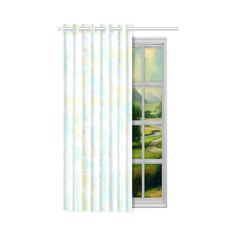 "Bright Blue Yellow Grunge Design New Window Curtain 50"" x 84""(One Piece)"