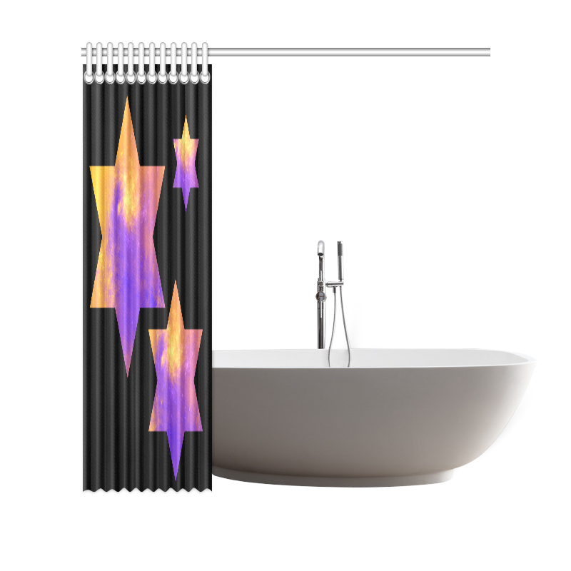 "Colorful Universe Stars Black Shower Curtain 69""x70"""