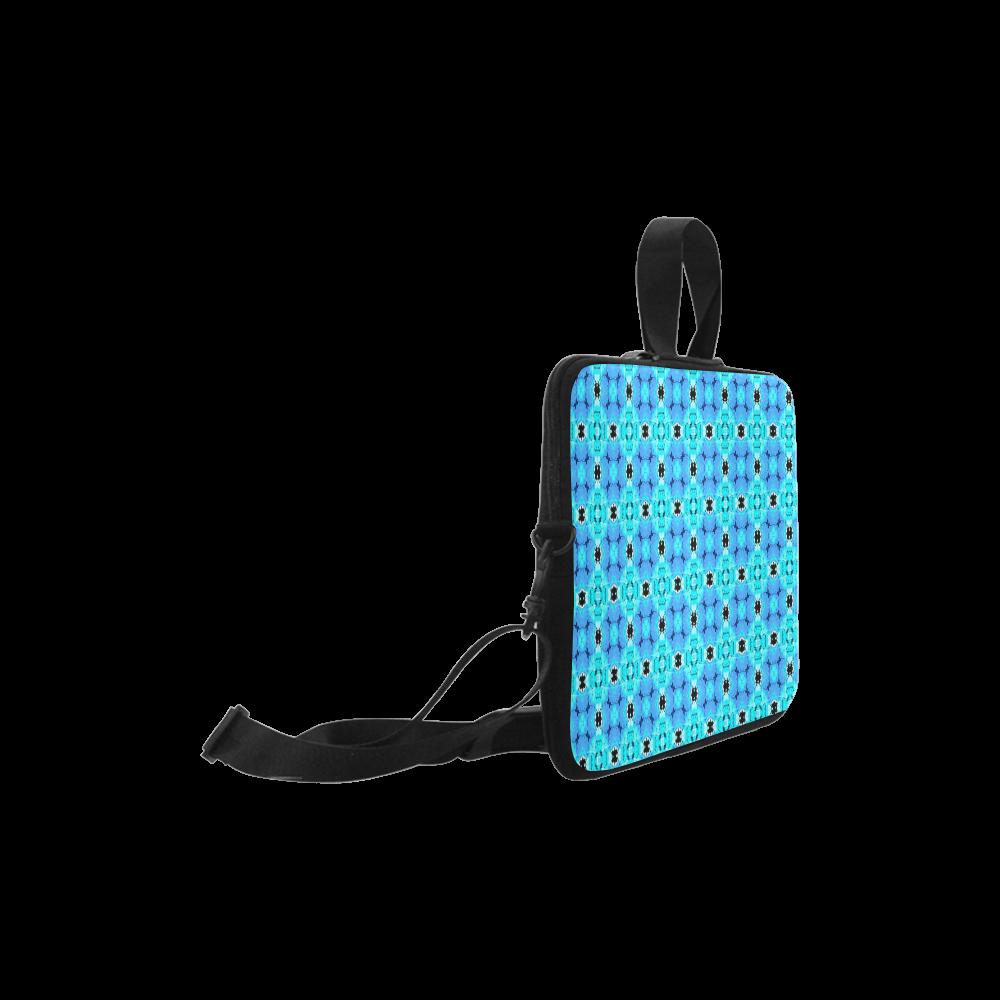 "Vibrant Modern Abstract Lattice Aqua Blue Quilt Laptop Handbags 10"""