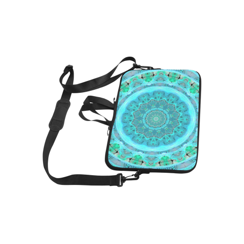 "Teal Cyan Ocean Abstract Modern Lace Lattice Laptop Handbags 10"""