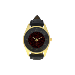 Elegant vintage flourish damasks in  black and red Men's Golden Leather Strap Watch(Model 210)