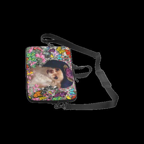 "Chi Chi in Yellow Butterflies, Chihuahua Puppy Dog Laptop Handbags 10"""