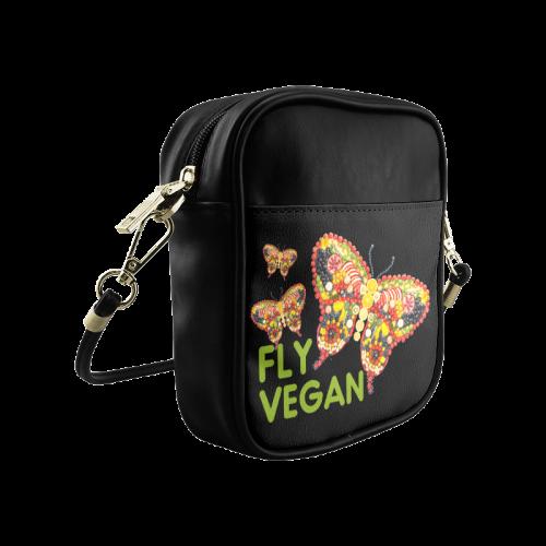 FLY VEGAN Butterflies Fruits Vegetables RAW Sling Bag (Model 1627)