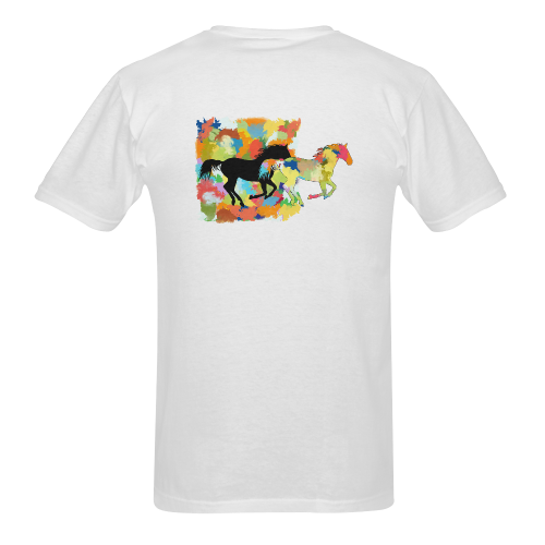 Horse  Shape Galloping out of Colorful Splash Sunny Men's T- shirt (Model T06)