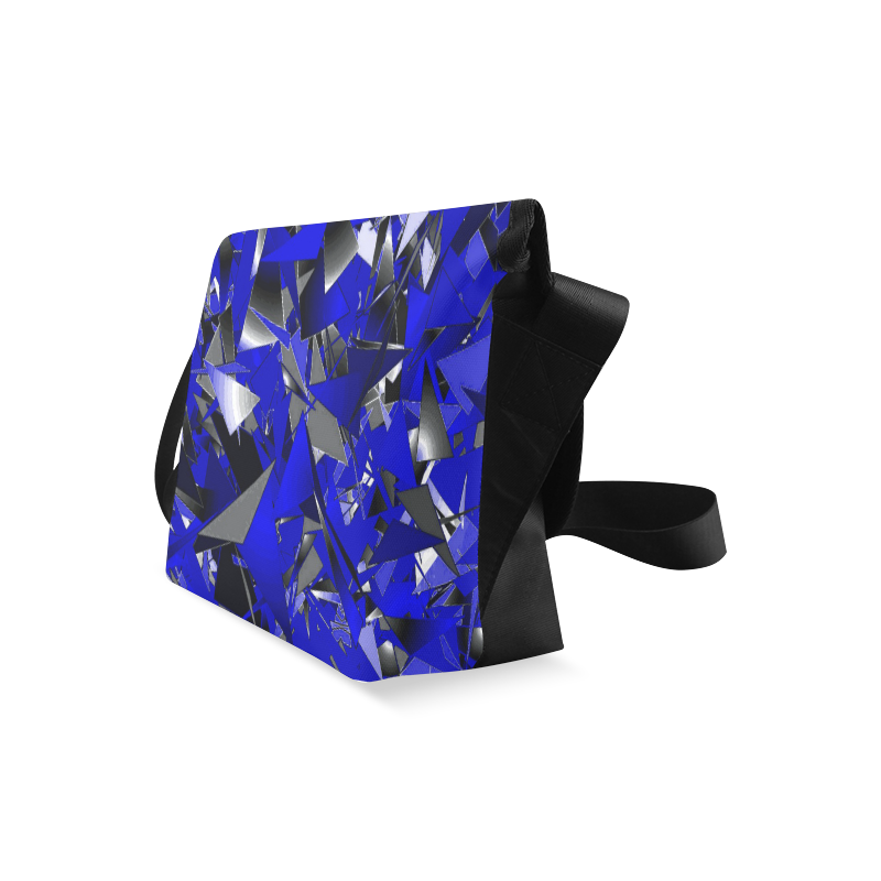 Smashed Glass - Blue, Black, White Abstract Crossbody Bag (Model 1631)