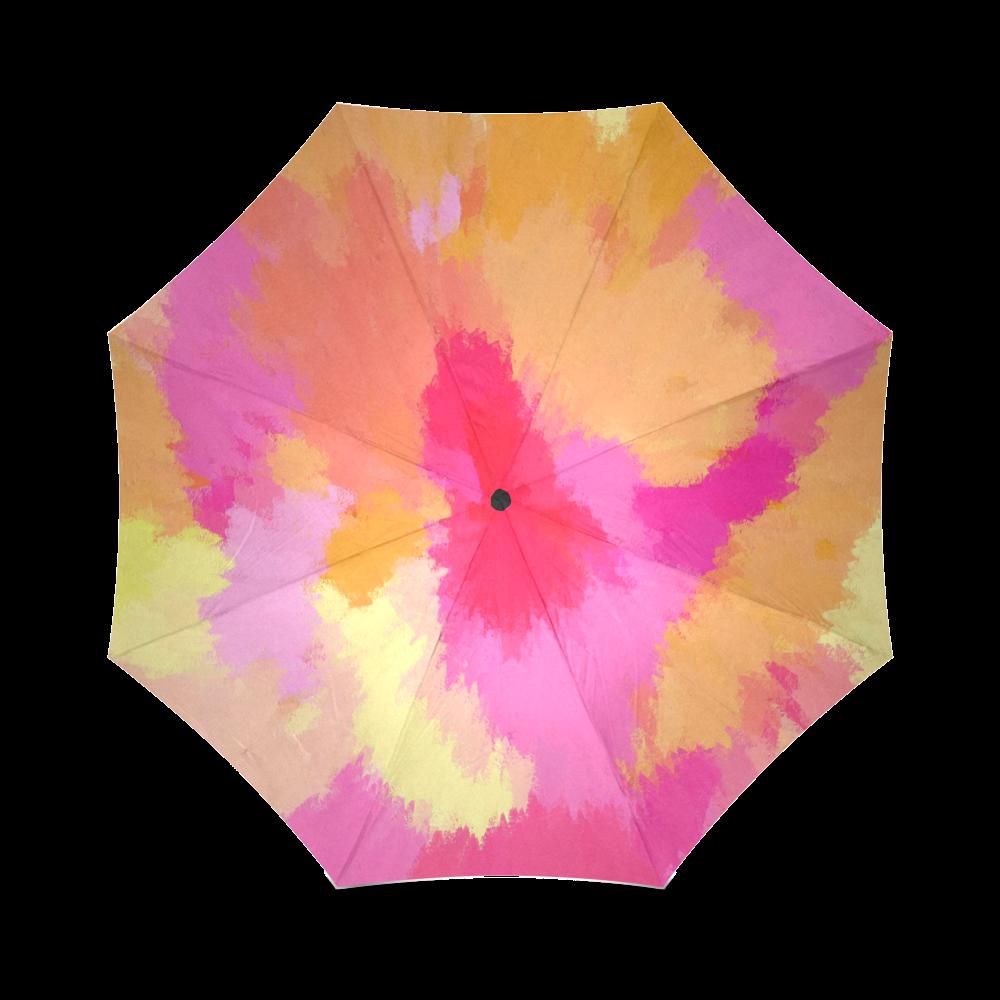 Pink, Orange and Yellow watercolors umbrella Foldable Umbrella (Model U01)
