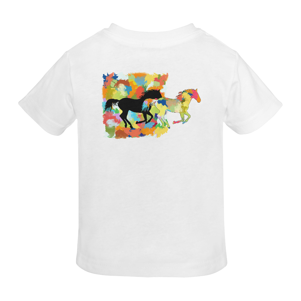 Horse  Shape Galloping out of Colorful Splash Sunny Youth T-shirt (Model T04)