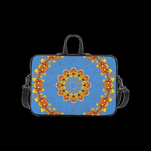"Dancing Orange Yellow Flowers Ladybugs Mandala Blue Laptop Handbags 10"""