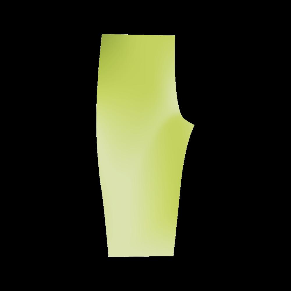 Swirly Stripes Spring Green Gradient Hestia Cropped Leggings (Model L03)