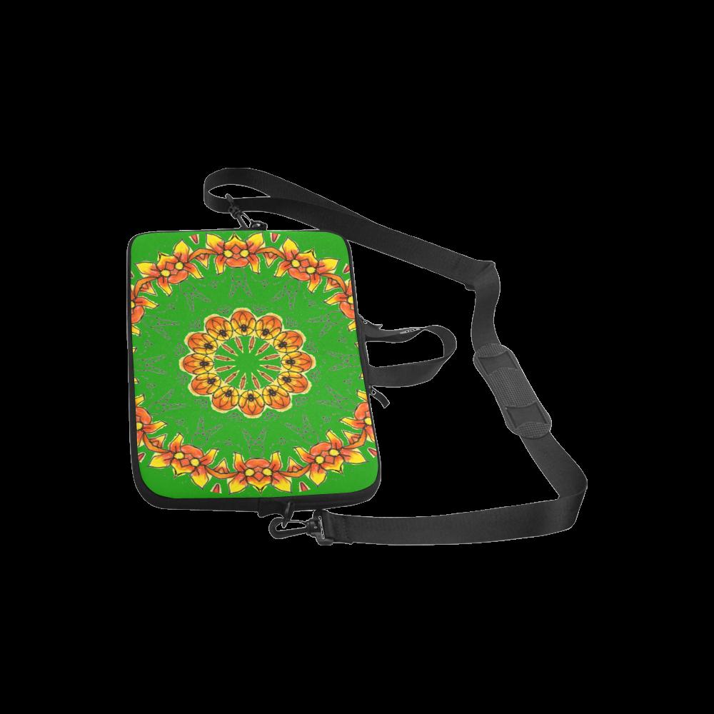 "Dancing Orange Yellow Flowers Ladybugs Mandala Green Laptop Handbags 10"""