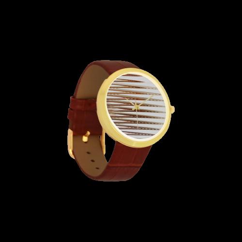 Swirly Stripes Women's Golden Leather Strap Watch(Model 212)