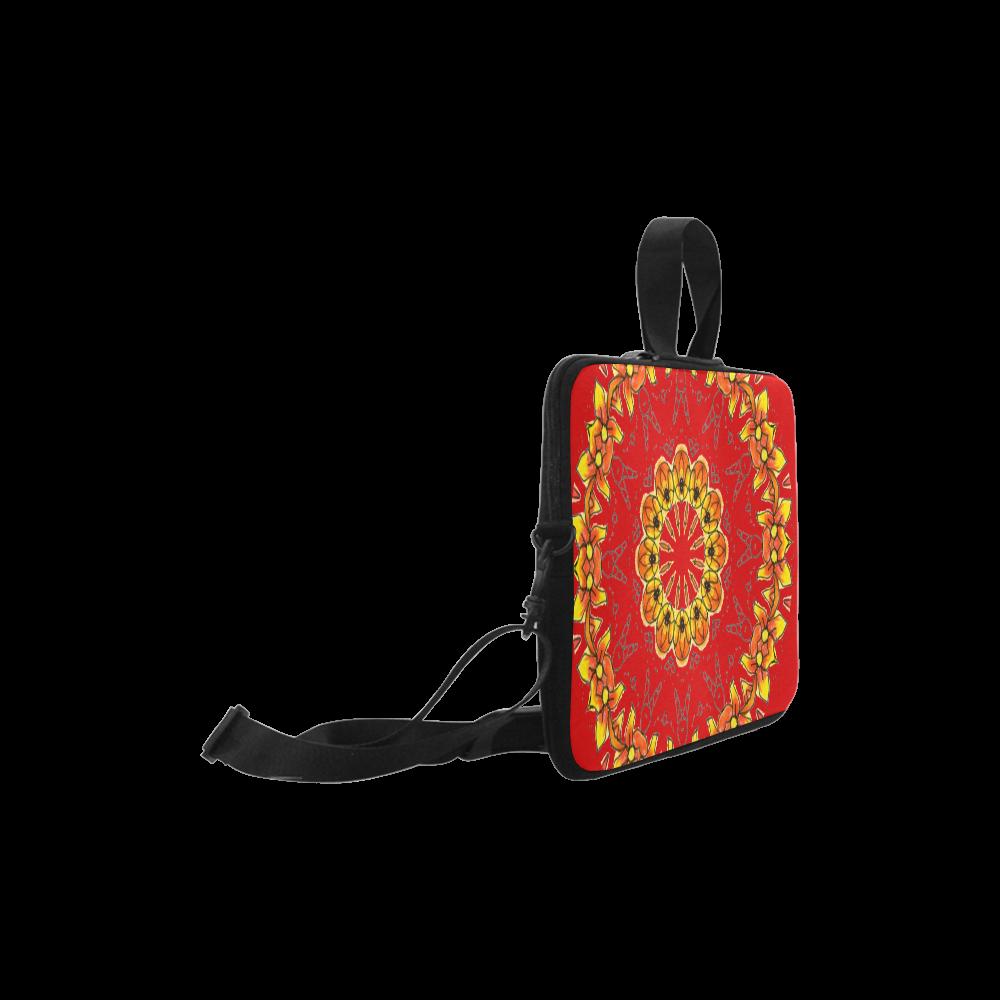 "Dancing Orange Yellow Flowers Ladybugs Mandala Red Laptop Handbags 10"""