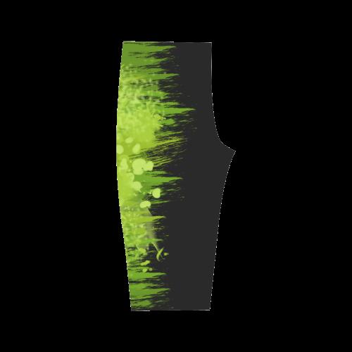 Spring Green Splash Design Two Face Hestia Cropped Leggings (Model L03)