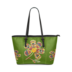 POWER FLOWER Fruits Vegetables Vegan Think Green Leather Tote Bag/Small (Model 1640)