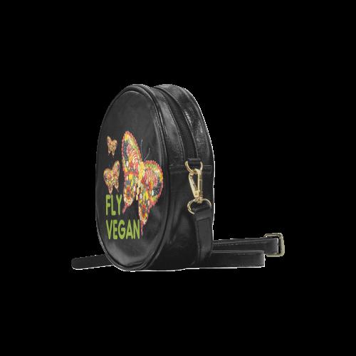 FLY VEGAN Butterflies Fruits Vegetables RAW Round Sling Bag (Model 1647)