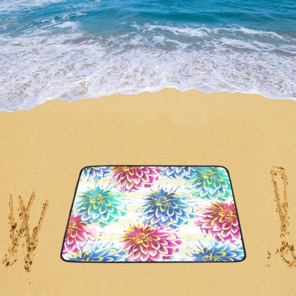 """Colorful Dahlias Beach Mat 78""""x 60"""""""