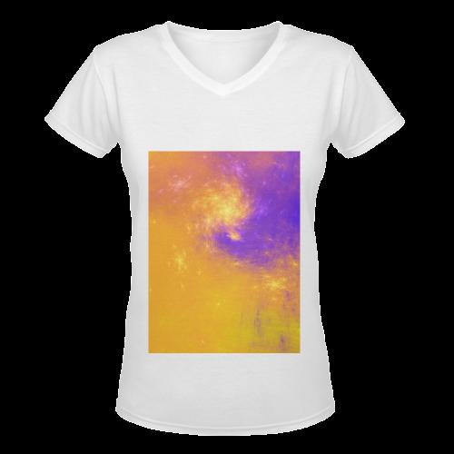 Colorful Universe Women's Deep V-neck T-shirt (Model T19)