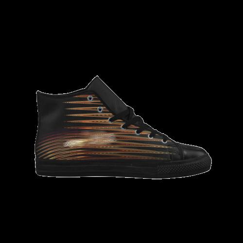 Swirly Stripes Aquila High Top Microfiber Leather Women's Shoes (Model 027)