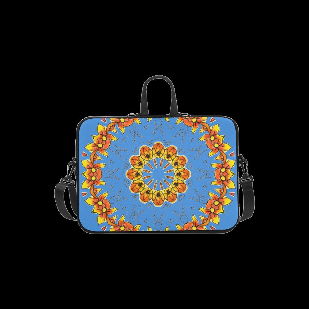 "Dancing Orange Yellow Flowers Ladybugs Mandala Blue Laptop Handbags 13"""