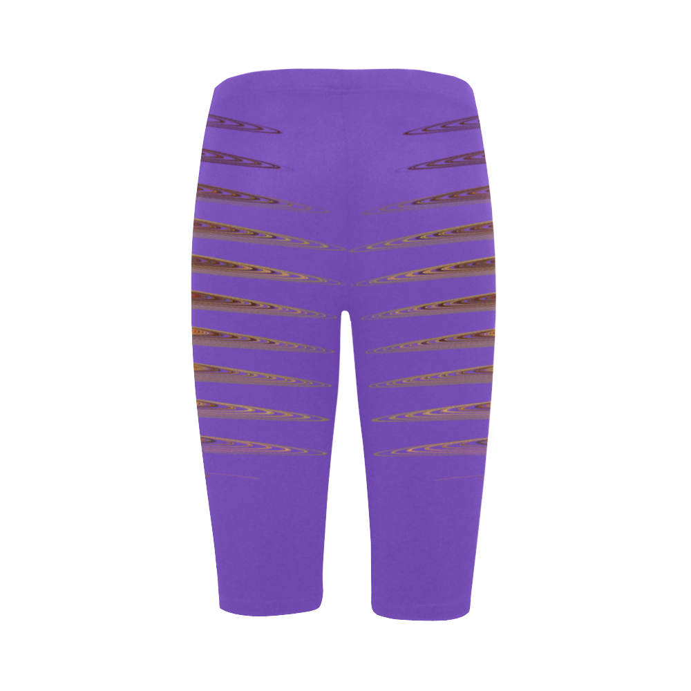 Swirly Stripes Two Face Lilac Hestia Cropped Leggings (Model L03)