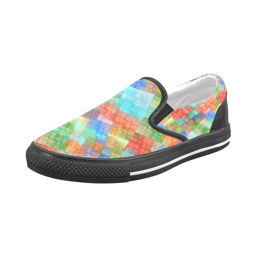Funny Colorful Check Men's Slip-on Canvas Shoes (Model 019)