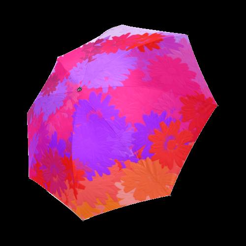 Purple, pink and orange flowers Foldable Umbrella (Model U01)